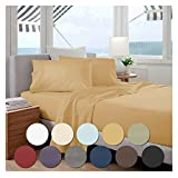 """Bed Sheet Set by Becky Cameron Bedding - 18"""" Deep Pocket Sheets - 1800 Series Brushed Microfiber 4 Piece Set - Queen, Gold"""