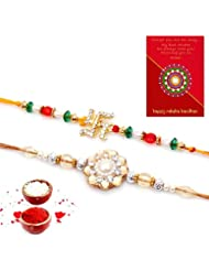 Ethnic Rakhi Fashionable And Stylish Rajasthani Colorful Floral Pattern Mauli Thread And Beads Rakhi Set Of 2... - B01IIMIRC4