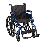 Drive Medical Blue Streak Wheelchair with Flip Back Detachable Desk Arms and Swing-away Foot Rest, Blue, 18″