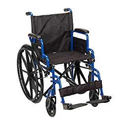 Drive Medical BLS16FBD-SF Blue Streak Wheelchair with Flip Back Desk Arms and Swing Away Footrest, Blue