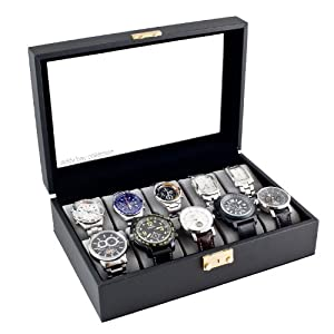 Classic Black Watch Case With Glass Clear Top Holds 10 Watches With Lock