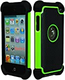 Bastex Hybrid Armor Case for Apple Ipod Touch 4, 4th Generation - Green & Black