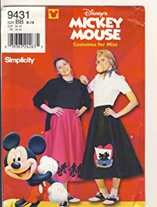 Simplicity Sewing Pattern - 9431 - Use to Make - Misses Mickey Mouse Costume - Sizes 8 - 18