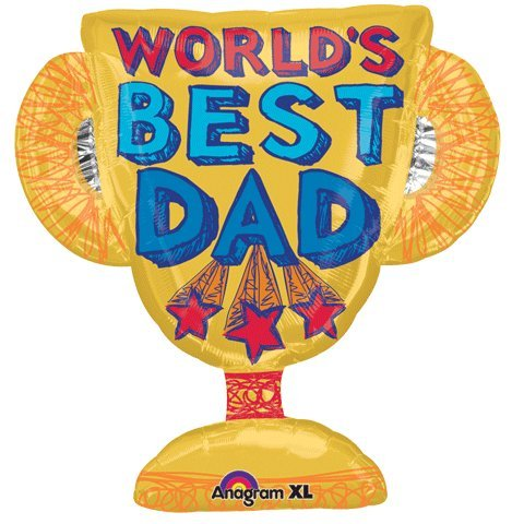 "Worlds Best Dad Trophy Shape 27"" Mylar Foil Balloon"