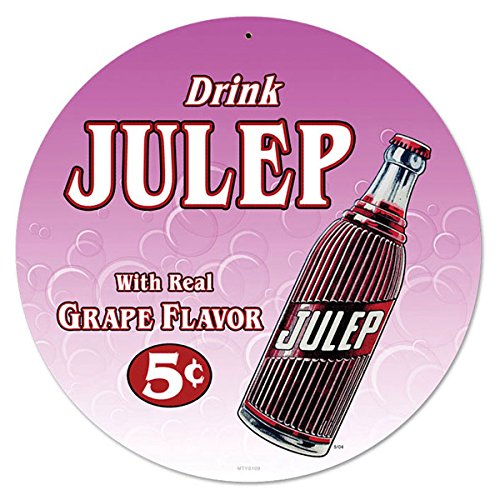 Drink Julep Real Grape Flavor Vintage Style Soda Metal Sign 14 x 14 (Grape Soda Sign compare prices)