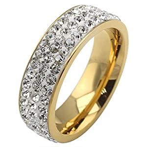 AMDXD Jewelry Titanium Stainless Steel Unisex Fashion Rings Shining CZ Golden 7MM Wide US Size 8