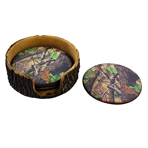 Green Camouflage 4pc Coaster Set and Tree Trunk Holder Drink Coasters with Base for the Man Cave Decor Hunting Cabin Dining Furniture Gun Shop Décor