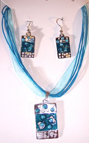 Teal Silvertone with Teal Enamel Abstract Necklace and Earring Set Nickle Free