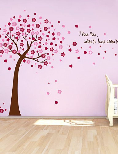 XF-Stickers-muraux-Stickers-muraux-mignon-color-en-PVC-amovible-sticker-mural-Motif-arbre-le-Lucky-rouge