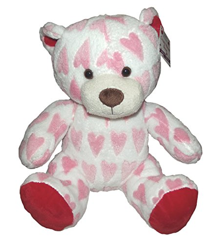 "Teddy Bear With Crazy Pink Hearts Plush-11"" - 1"
