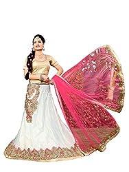 Silvermoon women's Net Embroidered heavy lehenga choli-sm_NMNZA325_White and Rani_free size