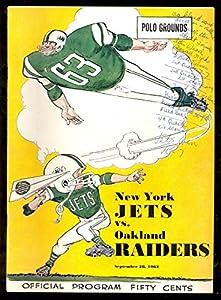 1963 New York Jets vs. Oakland Raiders Program September 28 Polo Grounds