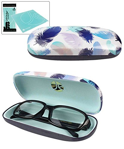 af3cae5f2bf JAVOedge Blue and Light Purple Large Feather Pattern Hard Glasses Case