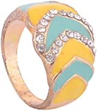 WM Couture Yellow & Green Metal and Ceramic Rings for Women (Asdqwe8, 17)