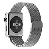 Apple Watch Band, BRG Fully Magnetic Closure Clasp Mesh Loop Milanese Stainless Steel iWatch Band Replacement Bracelet Strap for Apple Watch Sport&Edition 38mm Silver