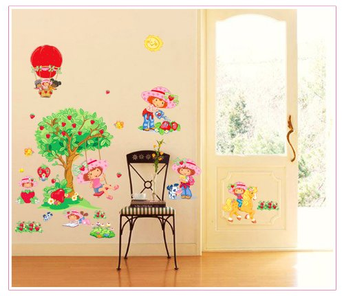 Apexshell (Tm) Cartoon Style Little Girl Playing Under Apple Tree Removable High Quality Diy Decorate Wall Decal Sticker Decor For Kids, Home, Nursery Room, For Children'S Bedroom front-500662