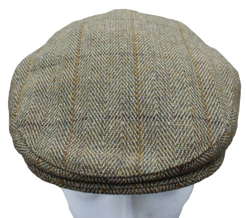 Mens Derby Tweed Flat Cap Teflon Coated Hat Fishing Hunting Walking Shooting NEW Sizes Small to XL (Small - 57cm - 7, Light Green)