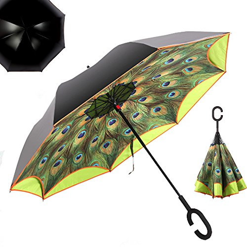 """NEWBRELLAs 25"""" Golf Size Creative Inside Out Drip-free Inverted Umbrella for Car Use with C-shaped Handle and Peacock Print -"""