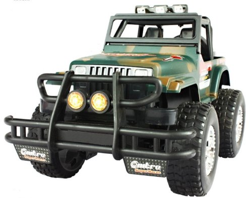 Big Dragonfly Super Fun Interesting 1:16 Scale Radio Controlled Jeep Wrangler Car Toy With Led Lights For Boy Children & Older Kids 4 Channels Rechargeable Exquisite Package Camouflage Green