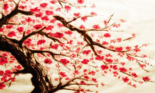 LARGE CHERRY BLOSSOM PAINTING box canvas ready to hang 34 x 20 inches