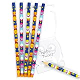 3 Little Owls Pencils 3 Assorted Designs, 18cm Party Bag Fillers, Children's Prizes, Drawing- Pack of 6