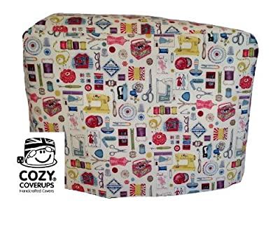Handmade Sewing Machine CozyCoverUp Dust Cover in Retro Sewing Icons