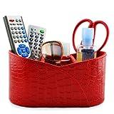 Earlygreen Pu Leather Cosmetic Organizer Remote Control/controller Tv Guide/mail/cd Organizer/caddy/holder Home Organizer Desk Organizer (Crocodile Pu Leather Red)
