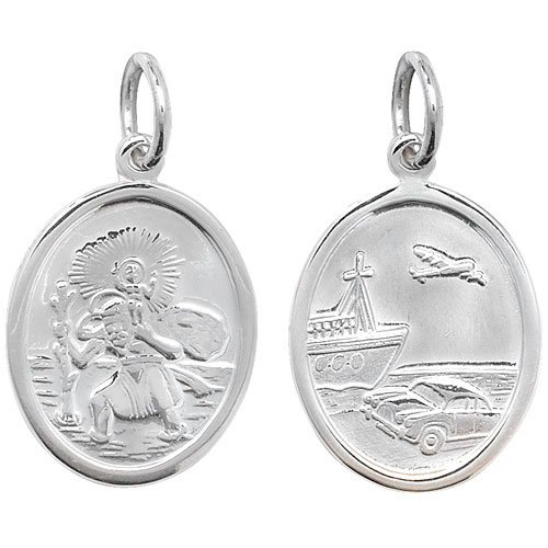 Childrens Sterling Silver Small Oval Double Sided St Christopher Pendant On A 14 Inch Curb Necklace