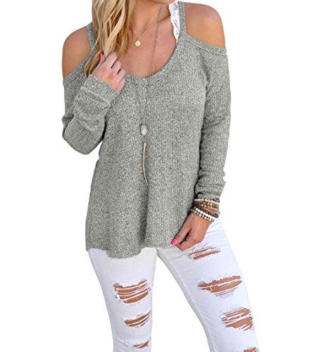 christmas-yffaye-womens-gray-cold-shoulder-knit-long-sleeves-sweater-m