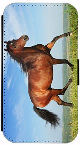 Flip Cover für Samsung Galaxy S4 i9500 Design 483 Pferd Hengst Braun Hülle aus Kunst-Leder Handytasche Etui Schutzhülle Case Wallet Buchflip Vorderseite Bedruckt mit Bild Rückseite Schwarz (483)