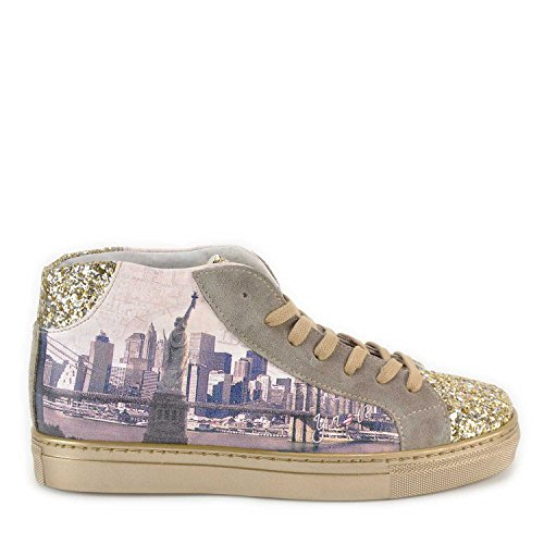 Scarpe donna Sneakers alte Y Not stampa New York-38