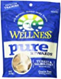 Wellness Pure Rewards Natural Grain Free Dog Treats Made in USA Only, Turkey & Salmon Jerky, 6-Ounce Bag