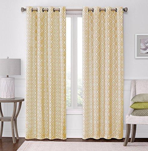 2 Pack: Regal Home Collections Woven Jacquard Quatrefoil Grommet Curtain Panels - Assorted Colors (Gold) (Grommet Panel Curtains compare prices)