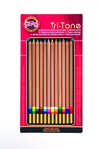 koh-i-noor-tri-tone-multi-colored-pencil-set-12-assorted-colors-in-tin-and-blister-carded-fa33tin12b