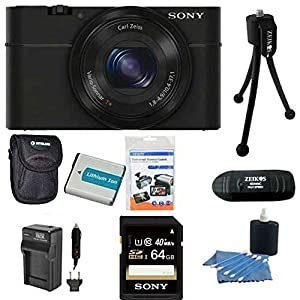 Sony DSC-RX100 20.2 MP Exmor CMOS Sensor Digital Camera with 3.6x Zoom BUNDLE with Sony 64GB High Speed Class 10 SD Card (SF64UY/TQMN), Spare Battery, Rapid AC/DC Charger, Deluxe Case, Card Reader, Mini Tripod, LCD Screen protectors and MORE!