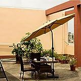 Ollieroo® 2016 Patio Umbrella Tilt Beige Aluminum 9FT Outdoor Market Umbrella With Crank, 8 Steel Ribs and Wind Vent, 100% Polyester