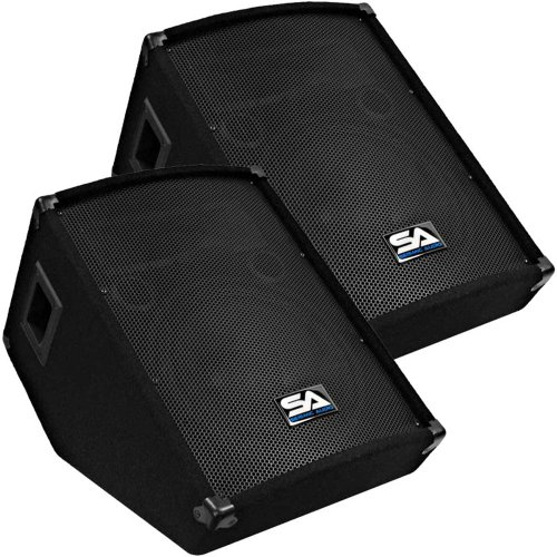 "Seismic Audio - Pair Of 12"" Floor Wedge Style Monitors - Studio, Stage, Or Floor Use - Pa/Dj Speakers"