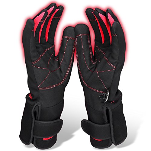 Antizer Middle Size Warm Heated Gloves For Women | Waterproof Design With Rechargeable Battery | Comfortable Fit Electric Gloves For Winter Sports, Work & More | Adjustable Temperature Control Switch (Battery Powered Glove Liners compare prices)