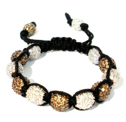 Shamballa 10mm CZ Clear and Champagne Pave About 13 Pave Beads Adjustable Handmade bracelet Unisex Hot Seller