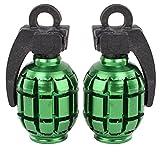 Savage Valve Dust Caps Grenade BMX Accessory for Schrader Valve (Green)
