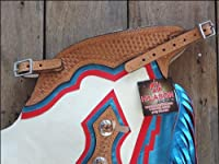 F201 Hilason Bronc Bull Riding Smooth Leather Rodeo Western Chaps White Blue Red from HILASON