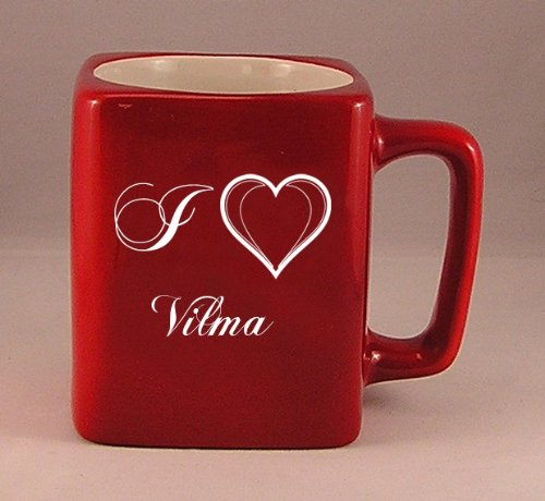 Coffee mug with laser engraved text: I Love Vilma