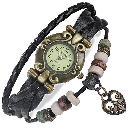 floray-hombre-y-mujer-negro-pulsera-de-cuero-hermoso-reloj-pulsera-ajustable-del-enrejado-diseno-con