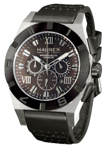 Haurex Italy Challenger 2 Chronograph Gray Dial Watch #3D350UMM - Reloj de caballero de cuarzo, correa de goma color negro