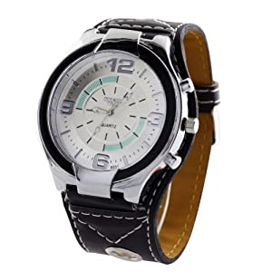 Big Face Dial Men Watches Super Mens Quartz Leatheroid Wrist Watch