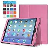 MoKo Apple iPad Air Case - Slim Folding Case for Apple iPad 5 / iPad Air (5th Gen) Tablet, PINK (With Smart Cover Auto Wake / Sleep)