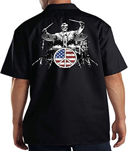 American USA Rock Abraham Lincoln Drums Work Shirt