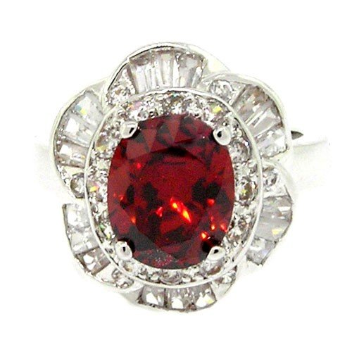 Vintage Royal Engagement Ring w/Garnet & White CZs Size 9