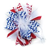 A Girl Company 4th of July White Feather Hair Bow for Girls