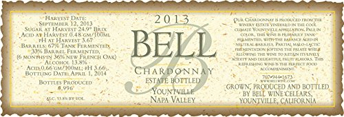 2013 Bell Wine Cellars Yountville Napa Valley Chardonnay 750 Ml